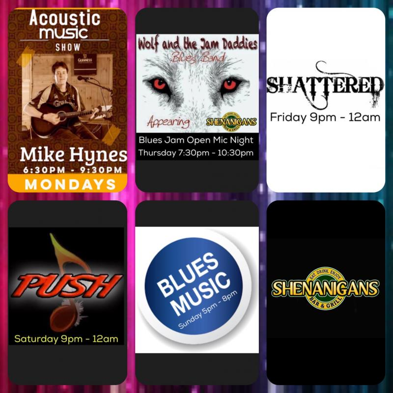 Entertainment At Shenanigans Bar Grill For September 26th