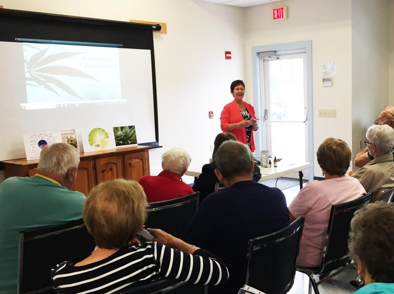 Cannabis consultant and massage therapist Kathy Furze-Spencer speaking at the Council on Aging on Tuesday