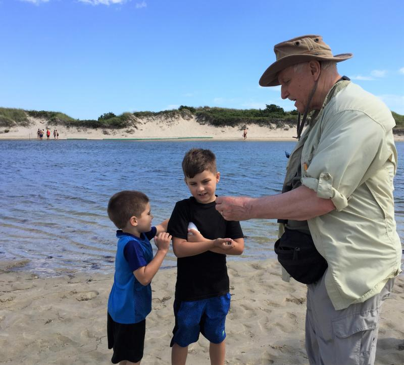 Mass Audubon volunteer Doug Hlousek shows a slipper shell to Brayden Meagher, 7, while his brother Cameron, 4, looks on