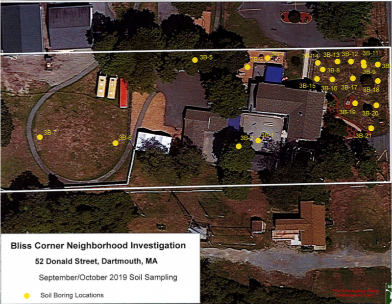 A map of the child care facility at 52 Donald Street showing where soil samples were taken. Image courtesy: MassDEP