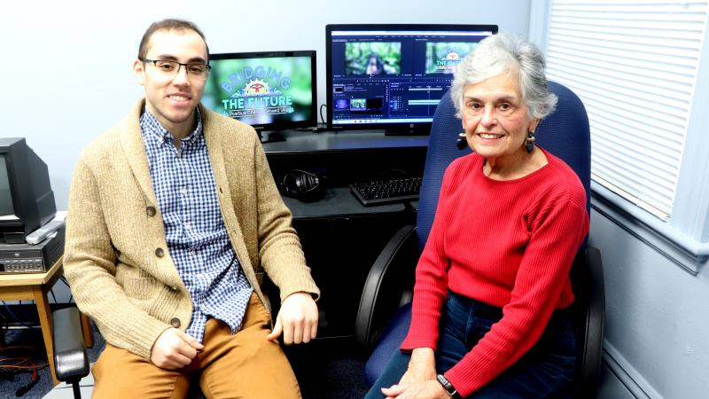 Dartmouth, MA news - Public Access Coordinator Daniel Medeiros and current member Nancy Jordan in the editing room. Photo courtesy: DCTV