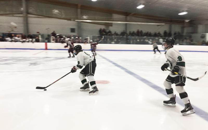 Dartmouth, MA news - sports - Dartmouth Indians taking the puck against Bishop Stang at the Holiday Tournament on December 27. Photo by: Kate Robinson