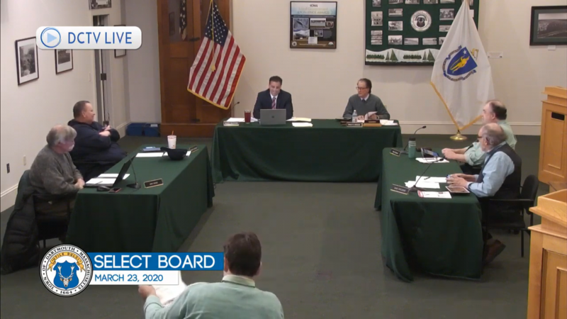 Dartmouth Week - Dartmouth, MA news - The Select Board meeting was broadcast live, as Town Hall is still closed to the public. Image courtesy: DCTV