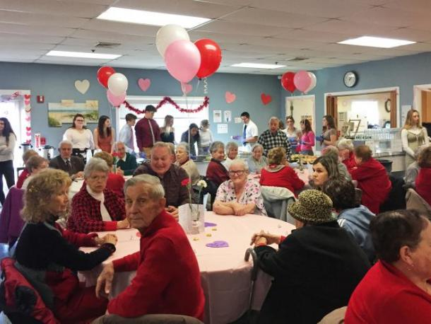 The senior center was packed for the Valentine's Day Dance hosted by the National Honor Society from Dartmouth High School. Photos by: Kate Robinson