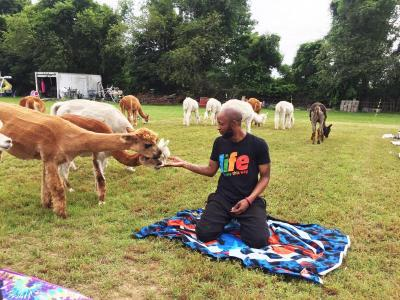 Jason Cameron of Brockton said that he enjoyed doing yoga with the animals