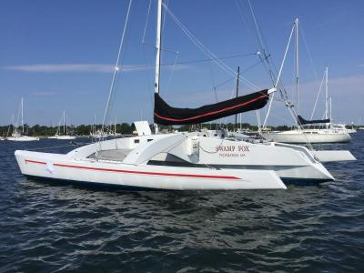 Don Watson's trimaran Swamp Fox sporting a patch in her port hull, where she was struck by a boat during Friday's race