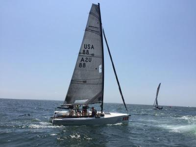 Mudratz boat Wild Deuces out of Connecticut. Mudratz is a non-profit that aims to provide opportunities for young sailors to compete