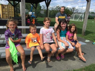 Quinn Racette, 6, Emmett Hill, 4, Violet Hill, 9, Reagan Racette, 9, and Taylor Hill, 7, were also happy to celebrate the start of the soccer season.