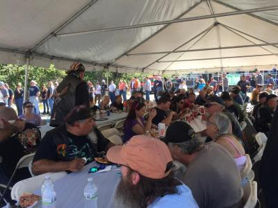 A packed lunch tent. Organizers estimated at least 600 people came out for the event.