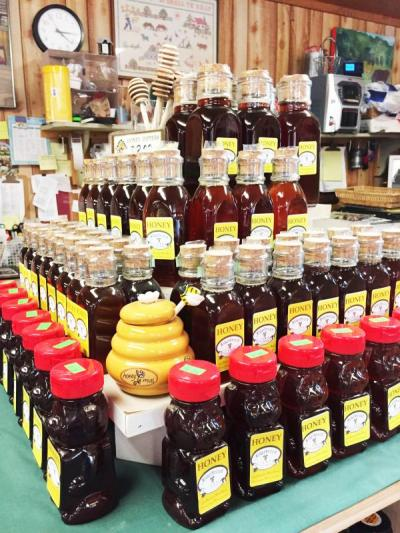A pyramid of honey at Alderbrook Farm Stand.