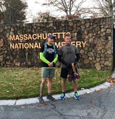 Josh Milich and Brian Tjersland in front of the Massachusetts National Cemetery in Bourne at the start of the journey on Veterans Day, November 11. Photo courtesy: Facebook/500 miles to end veteran suicide