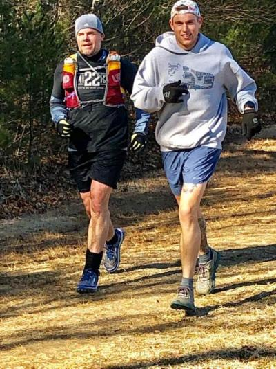 On a training run earlier this year. Photo courtesy: Facebook/500 miles to end veteran suicide
