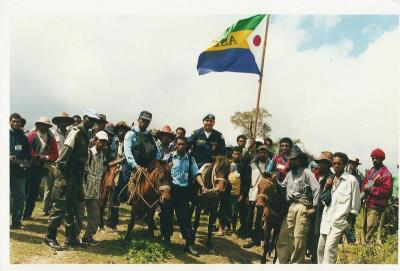 Vincent with police colleagues and villagers in East Timor. Photo courtesy: Deputy Vincent