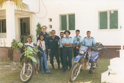 With police colleagues and dirtbikes in East Timor. Photo courtesy: Deputy Vincent