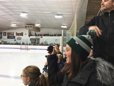 Dartmouth, MA news - sports - Dartmouth resident Jessica Simmons throws a puck onto the ice for the chuck-a-puck competition