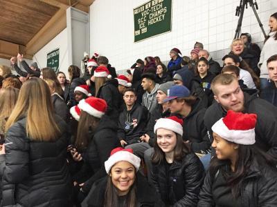 Dartmouth, MA news - sports - Bishop Stang supporters wore black with Santa hats for the holiday tournament