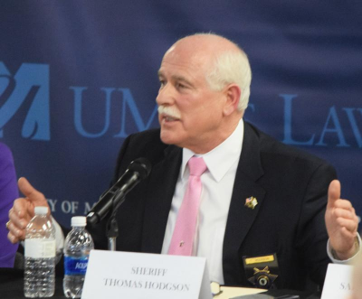 Dartmouth Week - Dartmouth, MA news - Sheriff Hodgson speaking at a UMass Dartmouth panel on sanctuary cities in 2017. Photo by: Douglas McCulloch