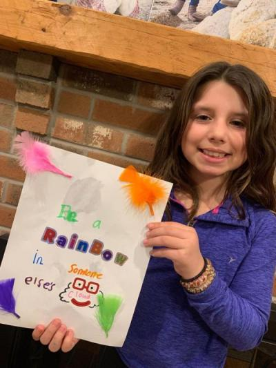 "Dartmouth Week - Dartmouth, MA news - Third grader Annabel Trahan chose ""Be a rainbow in someone else's cloud"" for her quote. Photo courtesy: DPD"