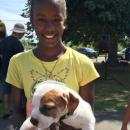 Jaliyah Perry, 12, with six-week-old puppy Brownie.