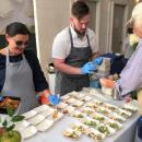Chefs from Jansal Valley Provisions and Sid Wainer & Son serve up marinated heirloom tomatoes with whipped ricotta and lavash.