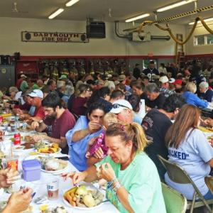 Around 200 people feasted on clams and linguica at the District 3 fire station in Russells Mills on Sunday. Photos by: Kate Robinson