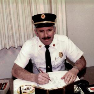 Fire Chief McNamara in his office (year unknown). Photo courtesy: Fire District No. 3