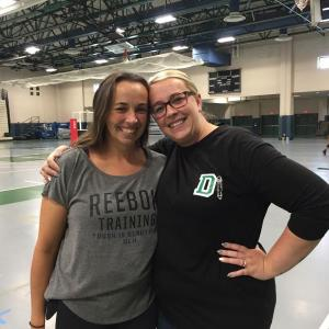 Sisters Rachel and Jessica Lassey, the Dartmouth High School Girls' Varsity and Junior Varsity coaches, respectively. Photo by: Kate Robinson