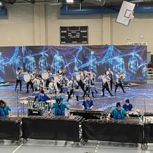 "Dartmouth High School Indoor Winter Percussion perform ""The Web"" during the show. Photo by: Sue Benoit"