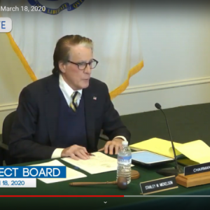 Dartmouth Week - Dartmouth, MA news - Select Board chair Stanley Mickelson during the emergency meeting on Wednesday evening, as seen from Youtube Live