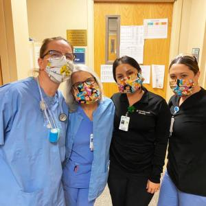 Dartmouth Week - Dartmouth, MA news - Hospital staff using some masks sewn by Dartmouth School Music Association parents. Photo courtesy: Greg Jones