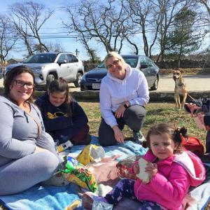 Dartmouth Week - Dartmouth, MA news - coronavirus - Amanda Reis with kids Ryleigh, 10, and Kayleigh, 2 (foreground) and sister Alexis André and her son Bentley, 7 and dog Baz