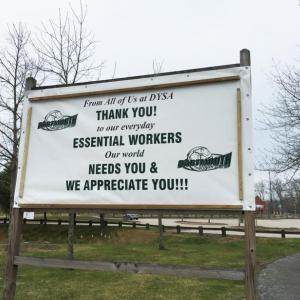 Dartmouth Week - Dartmouth, MA news -  The Dartmouth Youth Soccer Association thanks all essential workers in this sign at the entrance to the soccer fields near the high school. Photos by: Kate Robinson